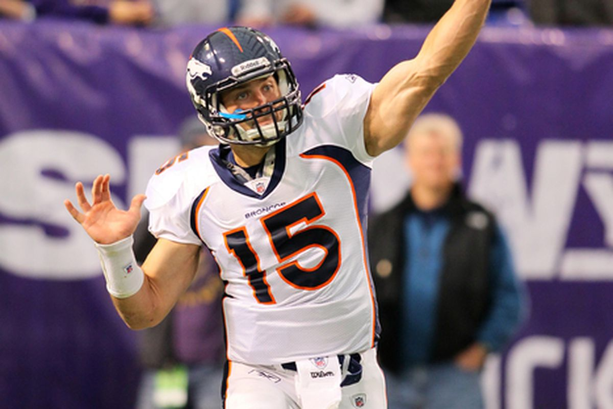 Tim Tebow #15 of the Denver Broncos warms up pregame against the Minnesota Vikings at the Hubert H. Humphrey Metrodome on December 4, 2011 in Minneapolis, Minnesota.  (Photo by Adam Bettcher /Getty Images)