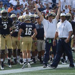 Navy head football coach Ken Niumatalolo paces the sideline at Navy-Marine Corps Memorial Stadium in Annapolis, Maryland.