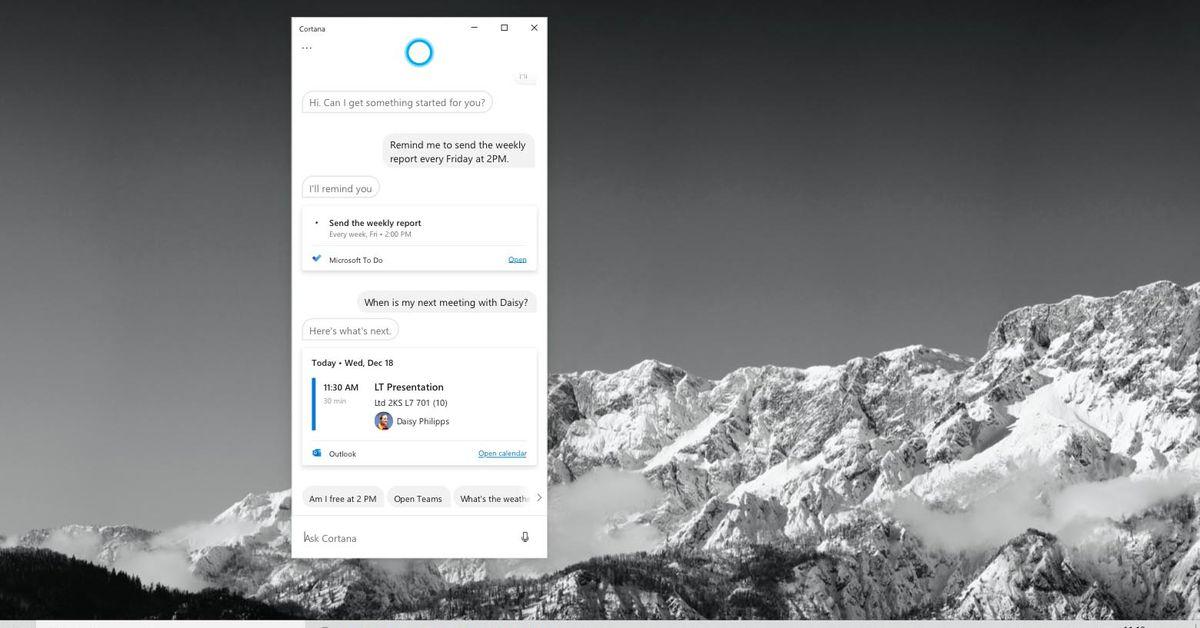 Microsoft elimina le competenze dei consumatori Cortana nel nuovo aggiornamento di Windows 10 thumbnail