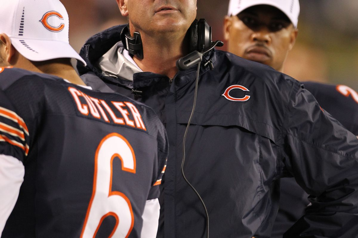 Aug 9, 2012; Chicago, IL, USA; Chicago Bears offensive coordinator Mike Tice with quarterback Jay Cutler (6) on the sidelines during the game against the Denver Broncos at Soldier Field.  Mandatory Credit: Matthew Emmons-US PRESSWIRE