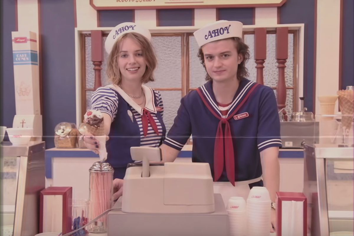 """In a new teaser for """"Stranger Things"""" season 3, Steve Harrington, played by Joe Keery, works alongside Robin, played by Maya Hawke, at the ice cream shop """"Scoops Ahoy."""""""