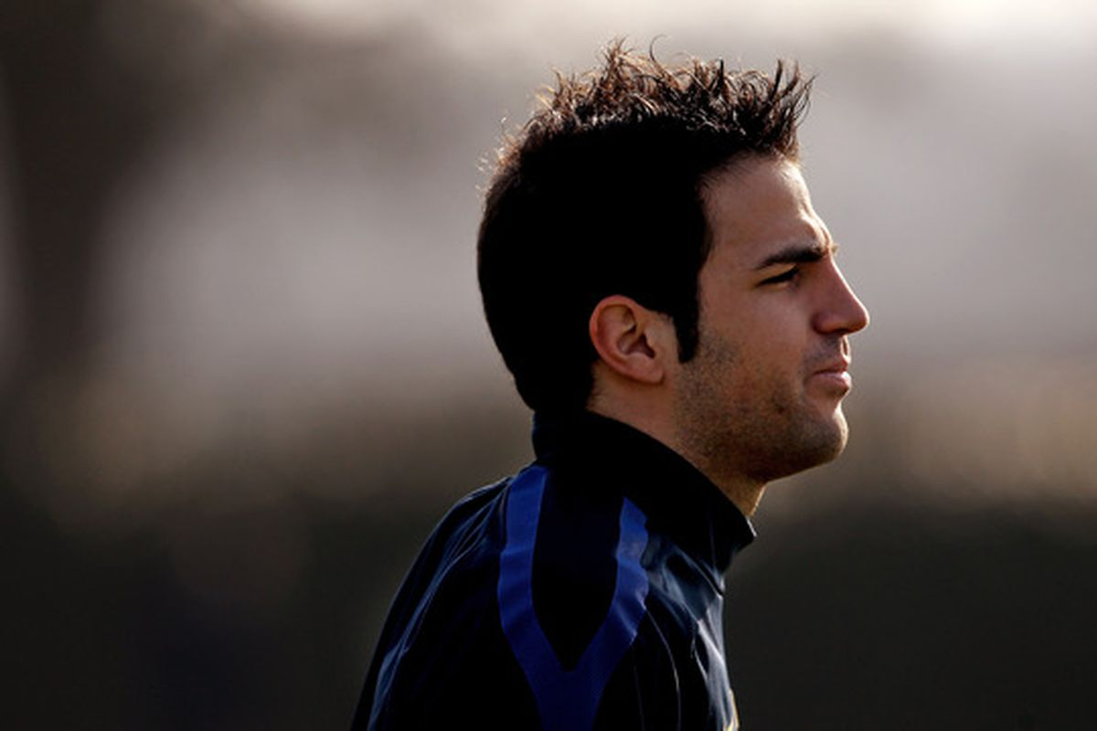 ST ALBANS, ENGLAND - MARCH 07:  Cesc Fabregas of Arsenal during a training session at London Colney on March 7, 2011 in St Albans, England.  (Photo by Scott Heavey/Getty Images)