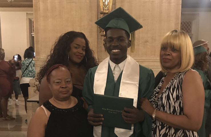 Marquise Linnear, 19, of Austin, at his graduation from Westinghouse College Prep. His aunt, Margaret McNeal (left), his mother, Tyesha Linnear, and his grandmother, Everlean Rhodes.   Provided photo