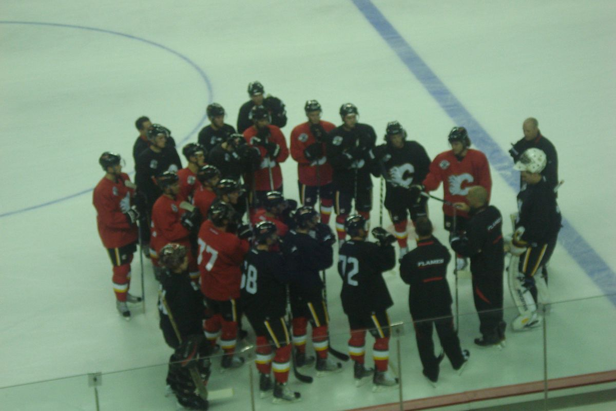 A photo I took of Flames prospects between power skating drills at Development Camp yesterday.