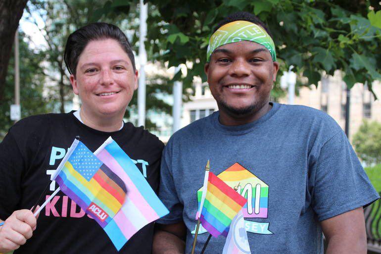 Newark board member Reginald Bledsoe, right, attended Newark's Pride celebration in July.