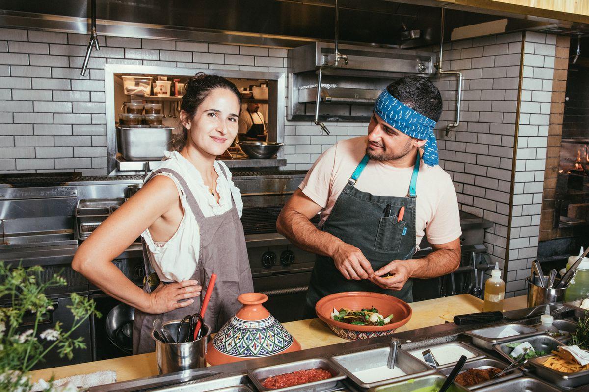 Genevieve Gergis and Ori Menashe in Bavel's kitchen