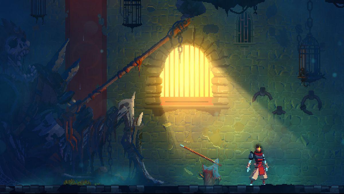 sunlight streams through a barred window in Dead Cells