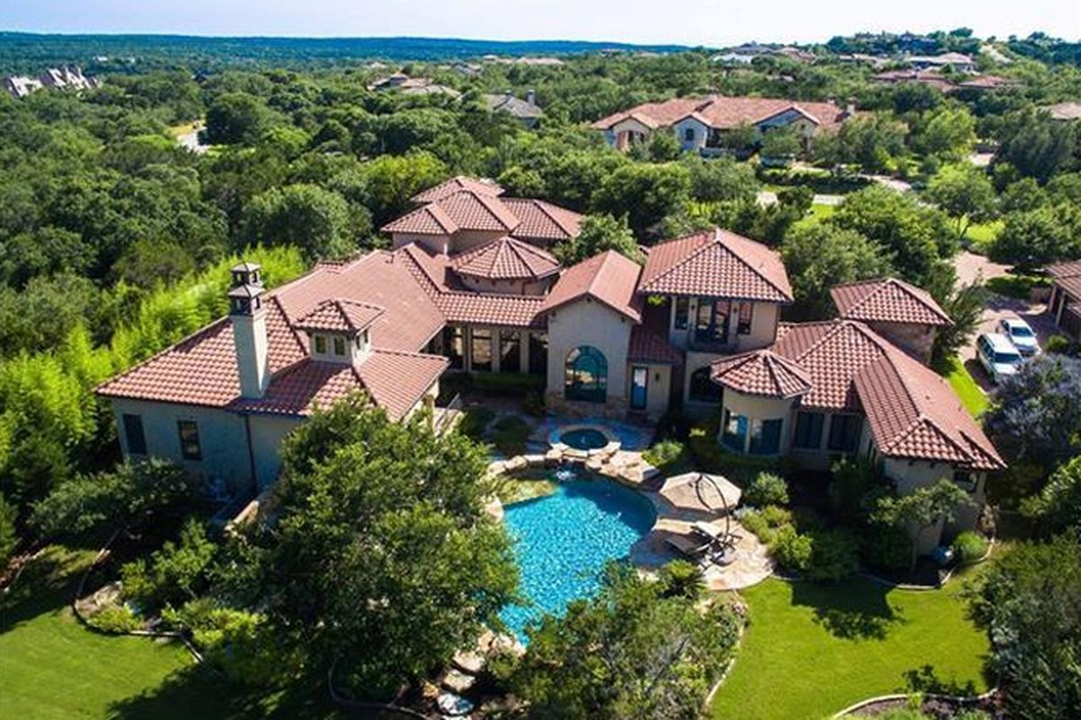 Overhead shot of a large McMansion