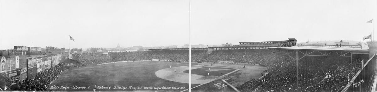 A black-and-white photo of an old ballpark.