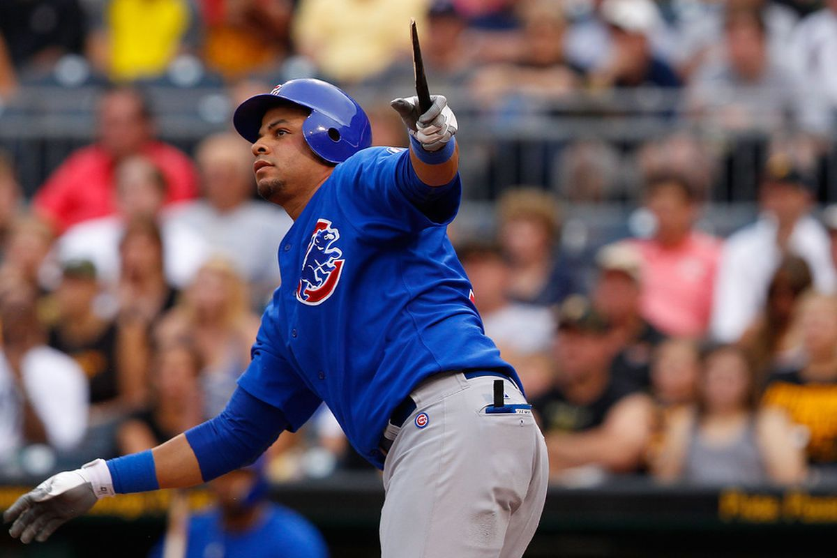 Aramis Ramirez of the Chicago Cubs hits a broken bat RBI single against the Pittsburgh Pirates during a game at PNC Park in Pittsburgh, Pennsylvania.  (Photo by Jared Wickerham/Getty Images)