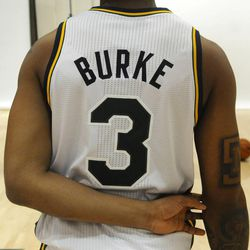 The Jazz's Trey Burke waits around in between photos during media day at the Zions Bank Basketball Center on Monday, September 30, 2013.