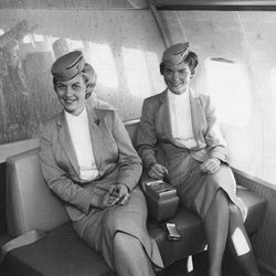 """Two attendants in the 50s. Photo via <a href-""""http://www.nationalsundowners.com/decades/70uniform.php"""">National Sundowners.</a>"""