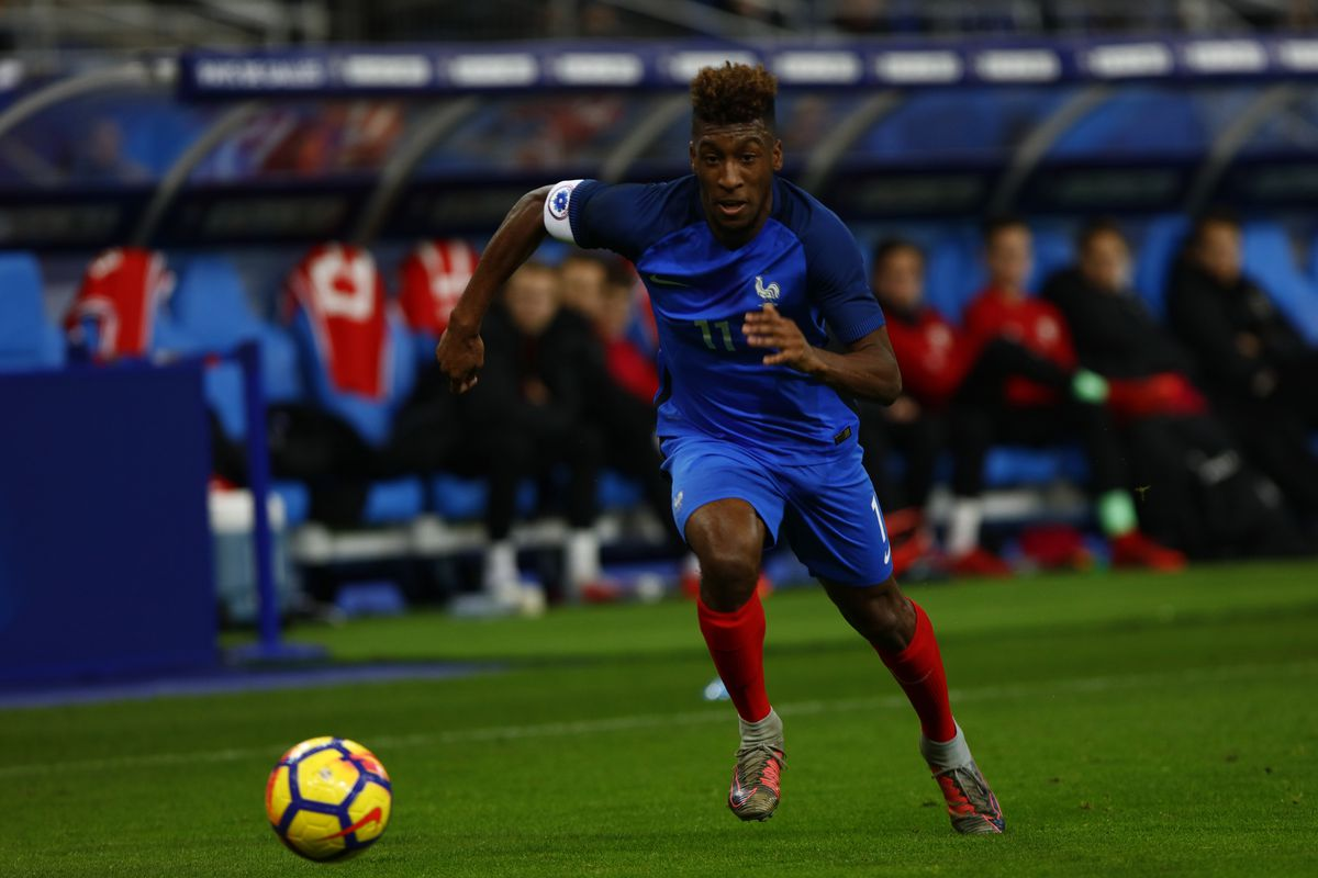 Kingsley Coman of France during the friendly football match between France and Wales at the Stade de France stadium, in Saint-Denis, on the outskirts of Paris, on November 10, 2017.  (Photo by Mehdi Taamallah/NurPhoto via Getty Images)