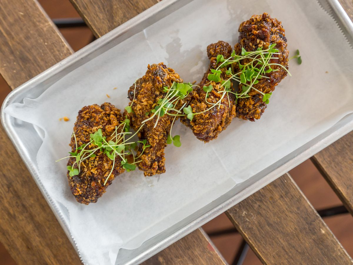 Chicken wings at Flock & Fowl