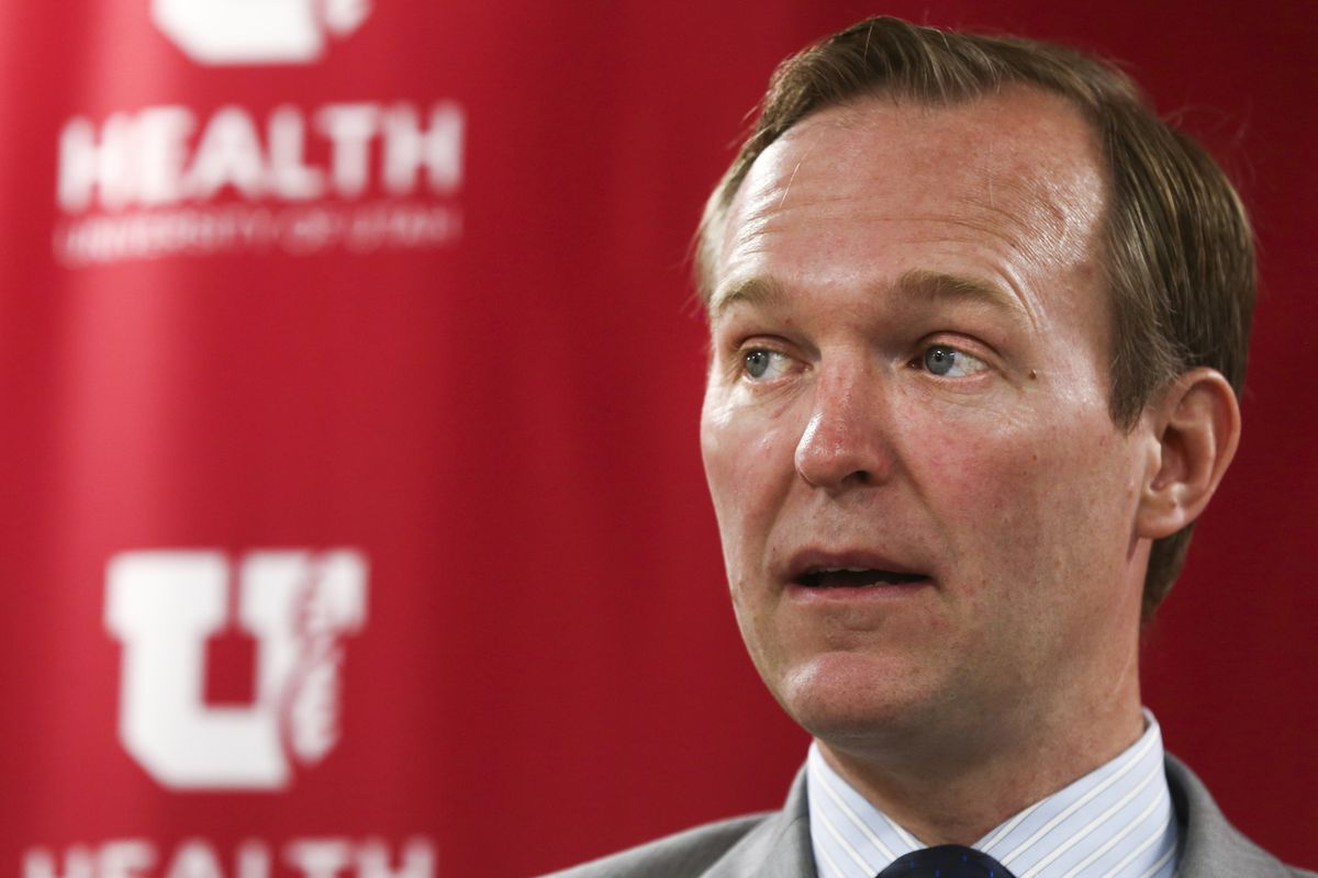FILE - Congressman Ben McAdams speaks during an event held to address the need for more funding for suicide prevention at the UNI Downtown Behavioral Health Clinic in Salt Lake City on Monday, July 8, 2019.