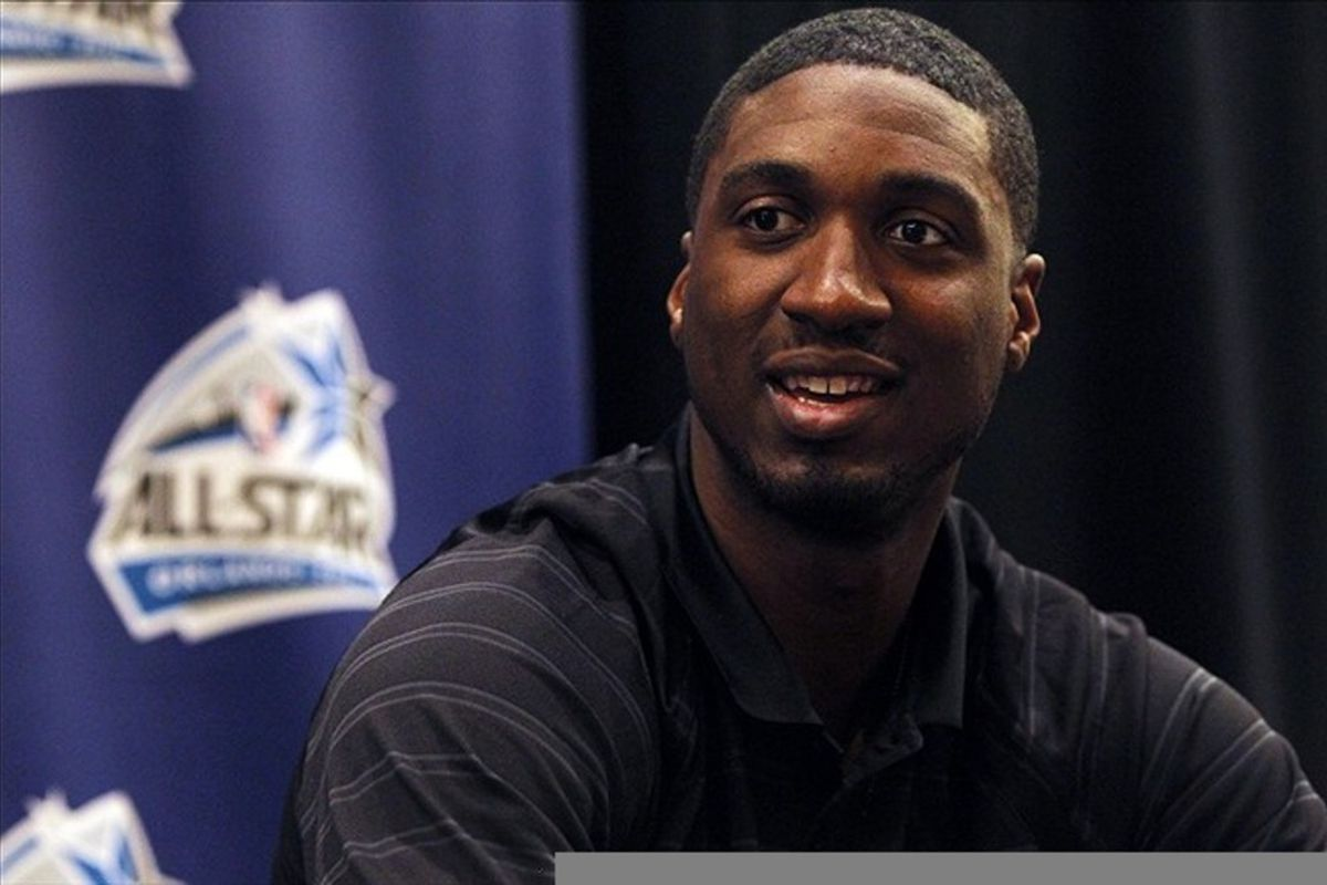 February 24, 2012; Orlando FL, USA;  Eastern Conference center Roy Hibbert of the Indiana Pacers during the East all-stars press conference at the Hilton Orlando. Mandatory Credit: Kim Klement-US PRESSWIRE