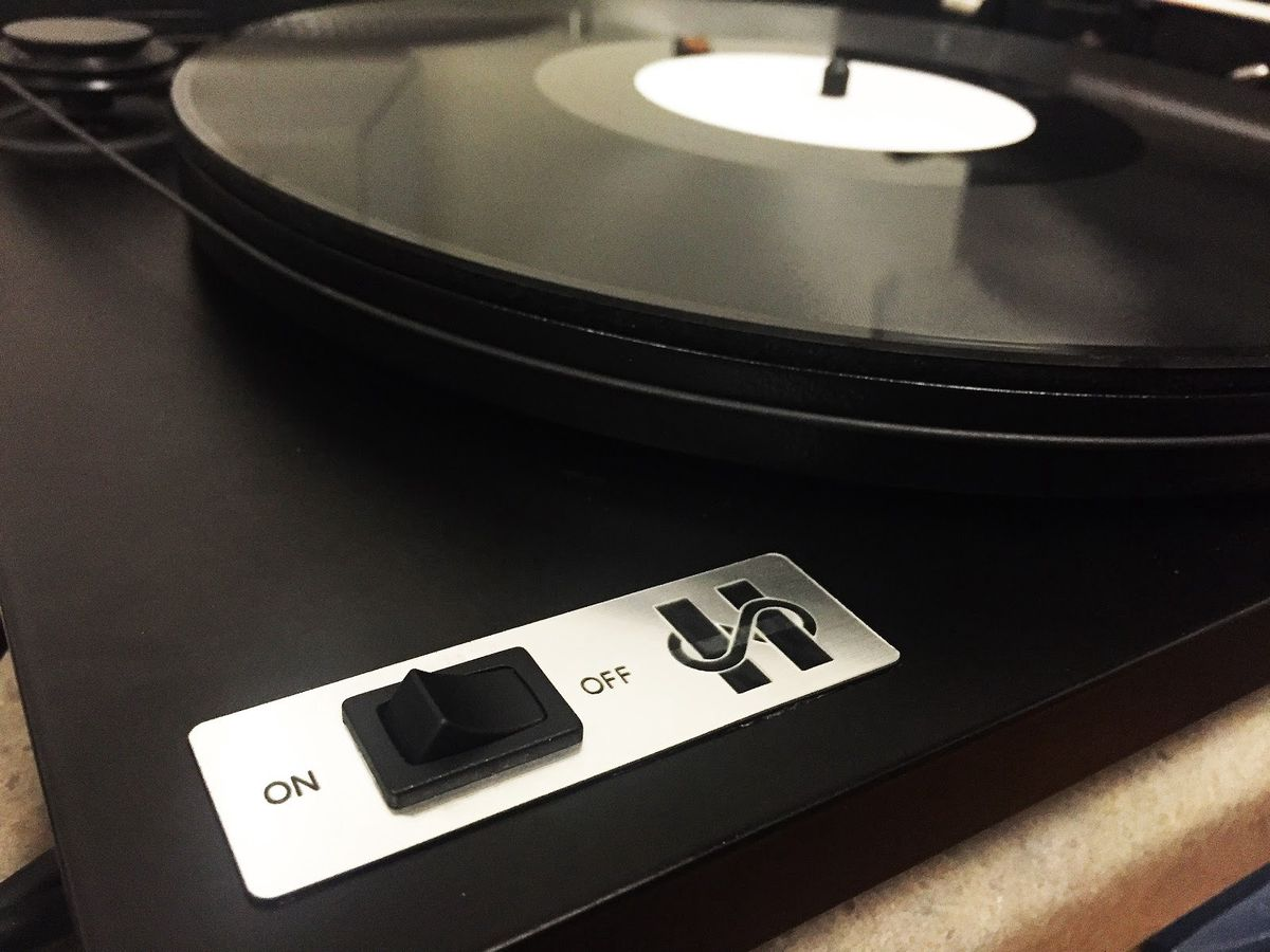 """Vinyl records encoded with data from a person's Facebook profile create a """"flatline"""" sound. (Courtesy Barcia-Colombo)"""