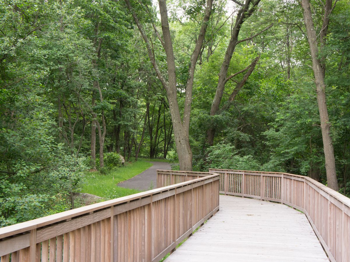 A mostly wooden bridge along the Neponset Trail.