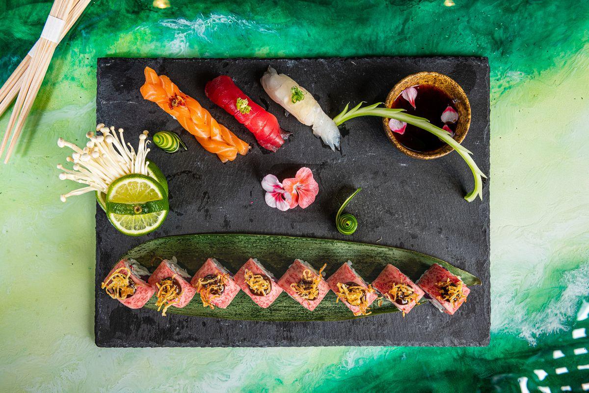 A sushi platter from NaRa-Ya