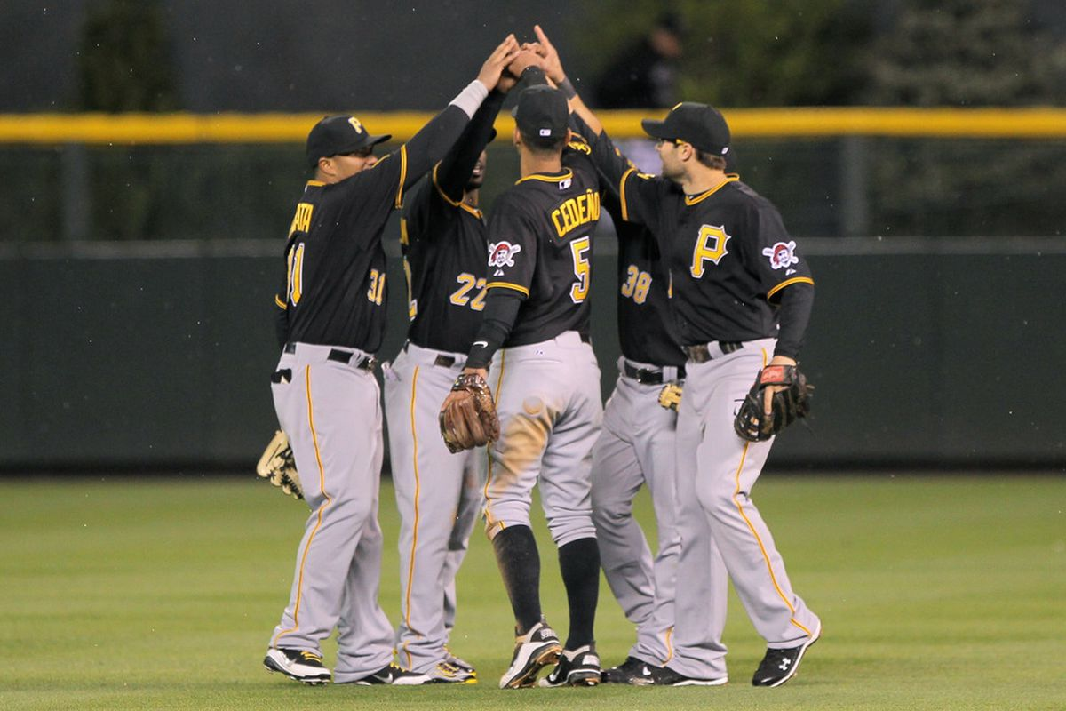 DENVER, CO - APRIL 29:  The Pittsburgh Pirates celebrate their 3-0 victory over the Colorado Rockies at Coors Field on April 29, 2011 in Denver, Colorado.  (Photo by Doug Pensinger/Getty Images)