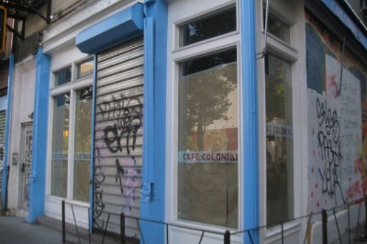 """The closed Café Colonial via <a href=""""http://www.boweryboogie.com/2010/06/coming-soon-rag-bone-at-73-east-houston.html#more-15333"""">Bowery Boogie</a>"""