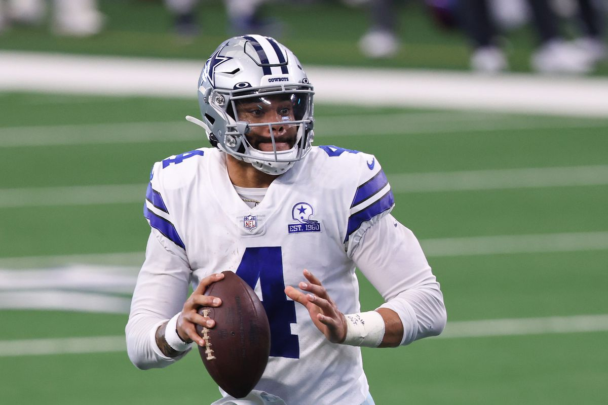 Dak Prescott #4 of the Dallas Cowboys attempts a pass against the New York Giants during the second quarter at AT&T Stadium on October 11, 2020 in Arlington, Texas.