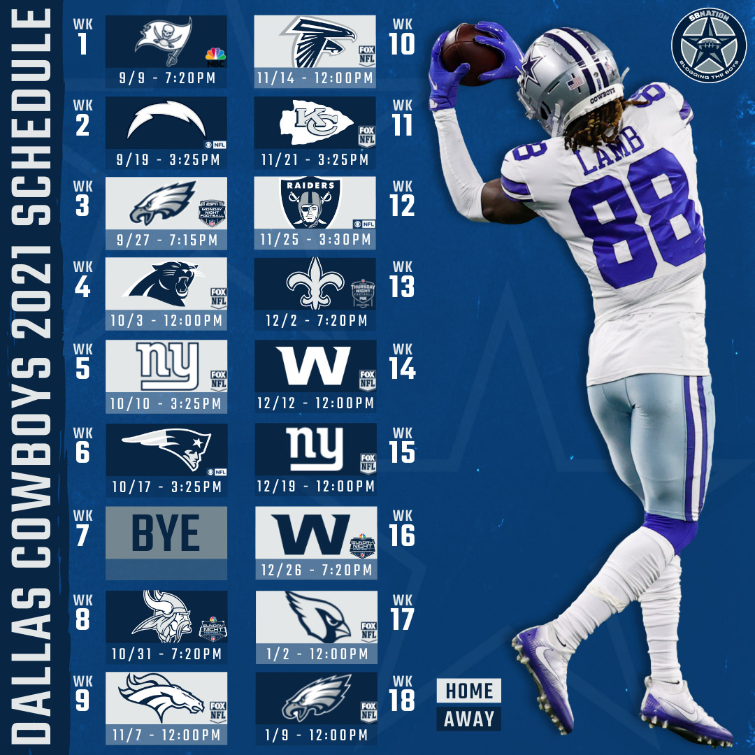 Cowboys 2021 Schedule Things Look Pretty Favorable For The Cowboys From Thanksgiving On Blogging The Boys