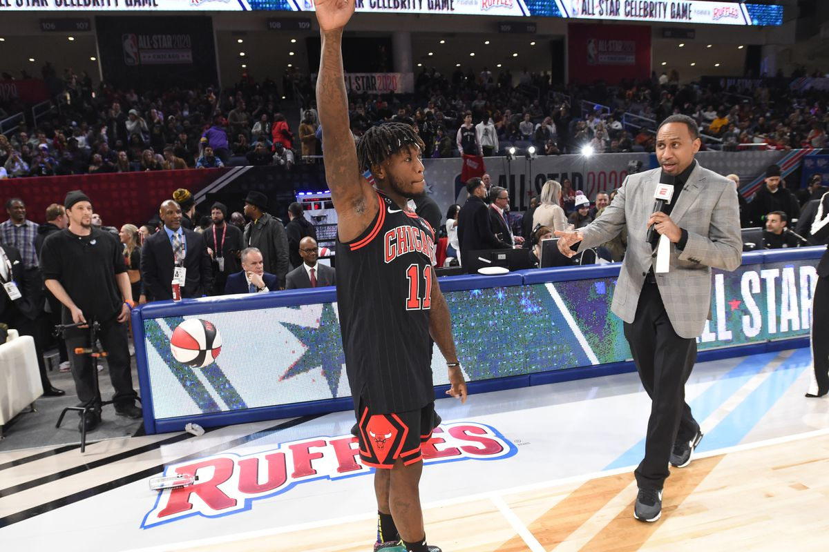NBA Legend Nate Robinson greets the crowd during the NBA Celebrity Game Presented By Ruffles as part of 2020 NBA All-Star Weekend on February 14, 2020 at Wintrust Arena in Chicago, Illinois.