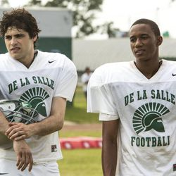 """Matthew Daddario (left) and Jessie Usher in """"When the Game Stands Tall."""""""