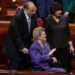 President Thomas S. Monson escorts his wife, Frances, after the 182nd Annual General Conference for The Church of Jesus Christ of Latter-day Saints in Salt Lake City on Sunday, April 1, 2012.