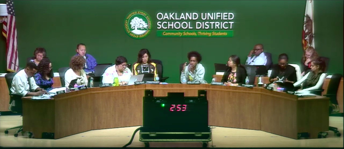 """The Oakland school board on June 27, 2018, the day it voted to approve the """"community of schools"""" plan."""