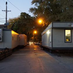 Trailers, for the media or MLB, located on the 3700 block of Clifton Avenue