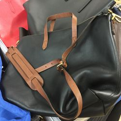 Madewell leather bag with brown strap, $130