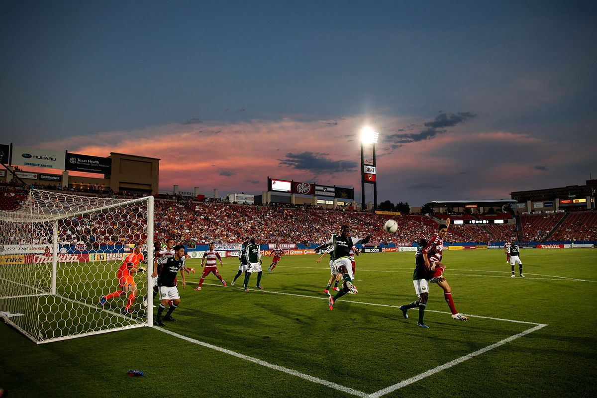 FRISCO, TX - JULY 21:  The sun sets as FC Dallas takes on the Portland Timbers at FC Dallas Stadium on July 21, 2012 in Frisco, Texas. FC Dallas beat the Portland Timbers 5-0. (Photo by Tom Pennington/Getty Images)