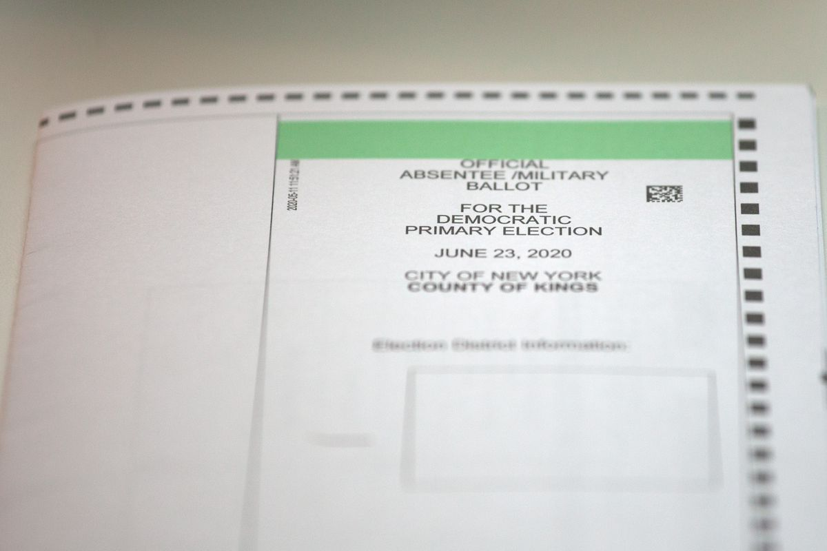 An absentee ballot for the June 23 primary.