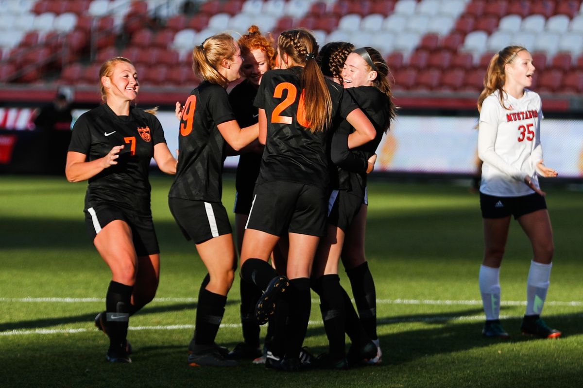 Ogden players celebrate their second goal during a 4A high school girls soccer semifinal against Crimson Cliffs at Rio Tinto Stadium in Sandy on Thursday, Oct. 22, 2020.