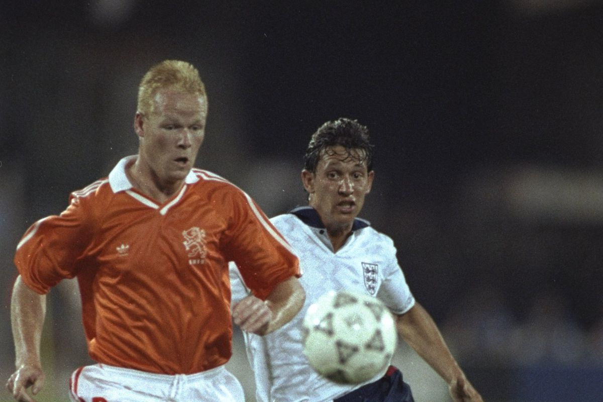 Ronald Koeman of Holland and Gary Lineker of England both go for the ball during