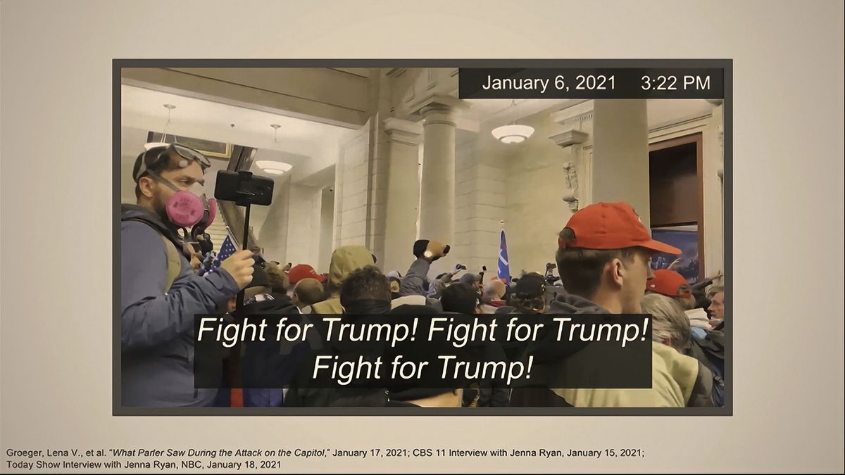 This image from video shows one of many slides presented by Democrats prosecuting the impeachment of former President Donald Trump in the Senate at the U.S. Capitol in Washington, Wednesday, Feb. 10, 2021.