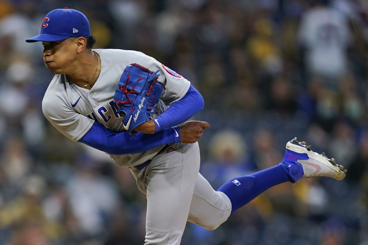Cubs starting pitcher Adbert Alzolay was removed in the fourth inning of Monday's loss to the Padres.