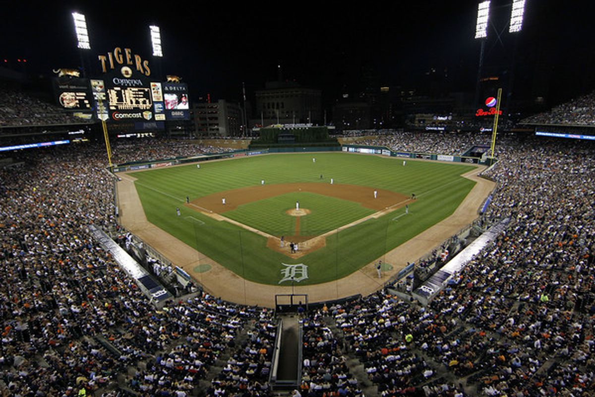 DETROIT - JULY 09: A sell-out crowd of 42,549 watched the game between the Detroit Tigers and the Minnesota Twins on July 9 2010 at Comerica Park in Detroit Michigan. The Tigers defeated the Twins 7-3. (Photo by Leon Halip/Getty Images)