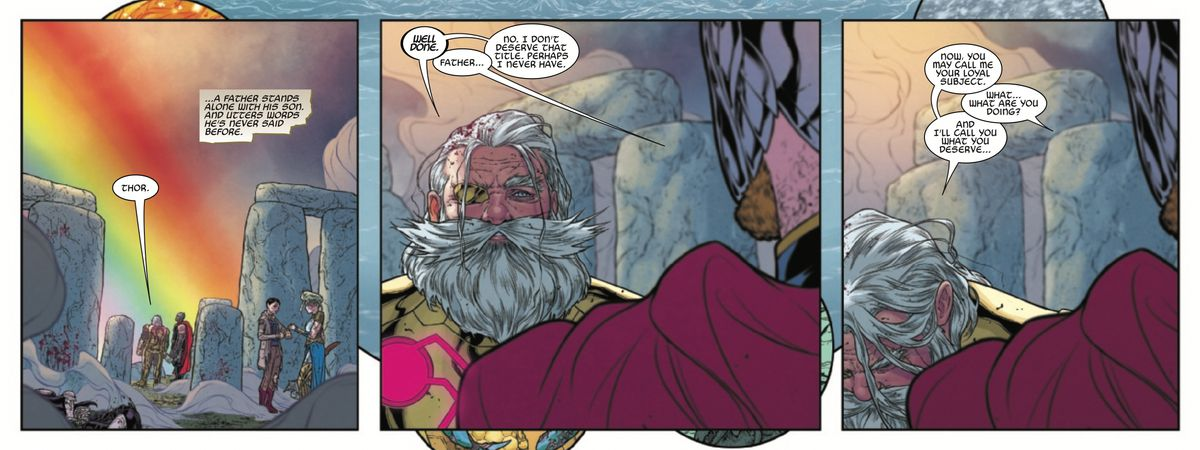 Odin addresses Thor as king of Asgard in The War of the Realms #6, Marvel Comics (2019).