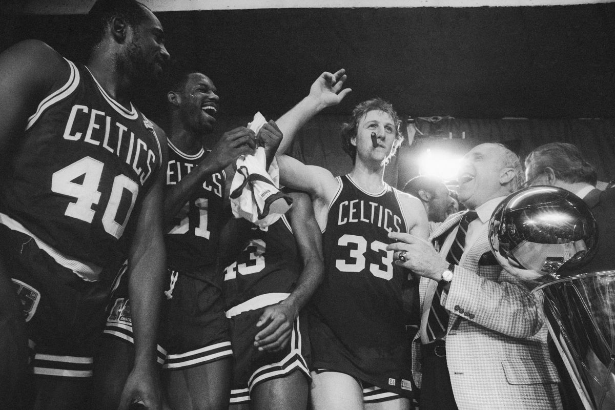 Larry Bird Smoking Cigar After Victory at the 1981 NBA Championships