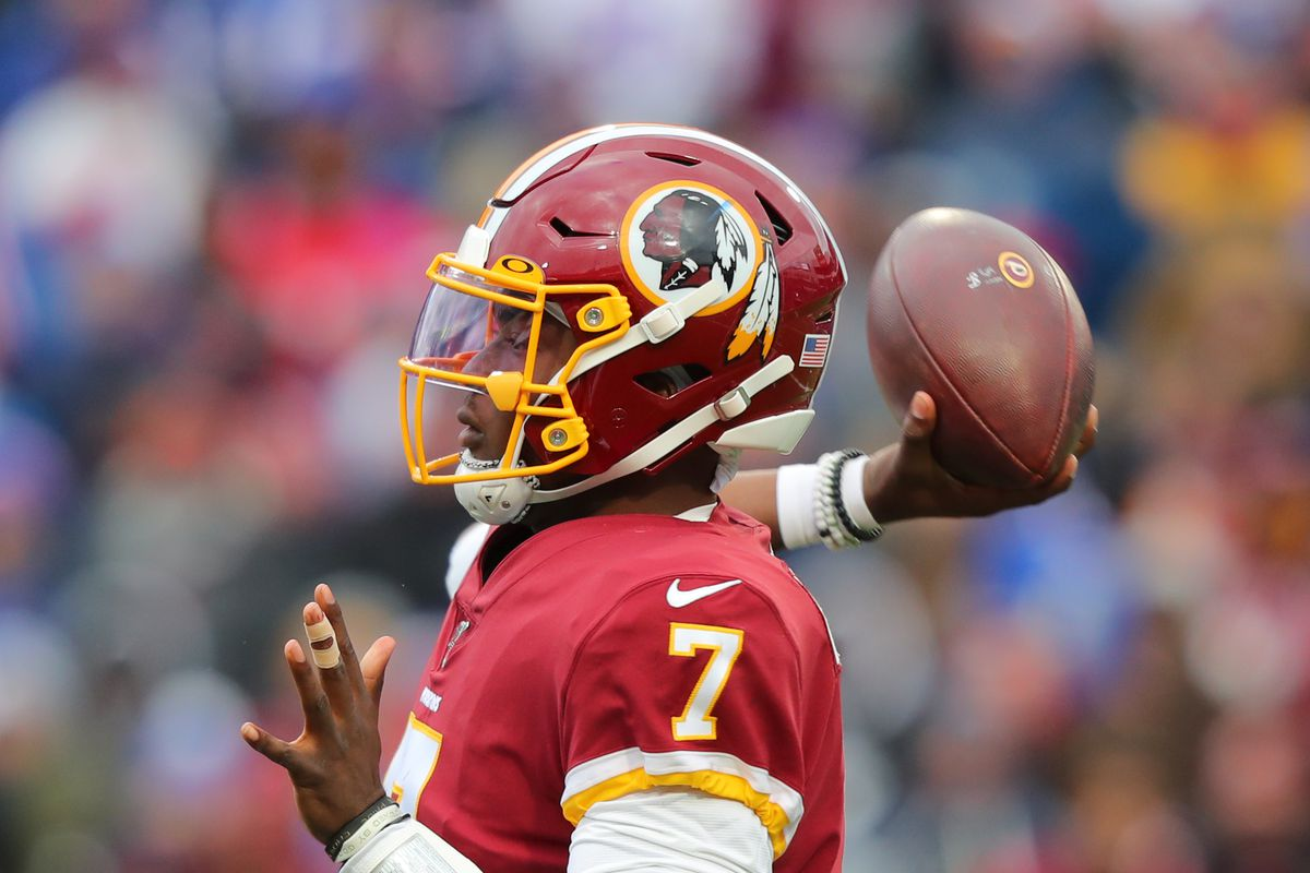 Washington quarterback Dwayne Haskins drops back to throw a pass against the Buffalo Bills at New Era Field on November 3, 2019 in Orchard Park, New York.