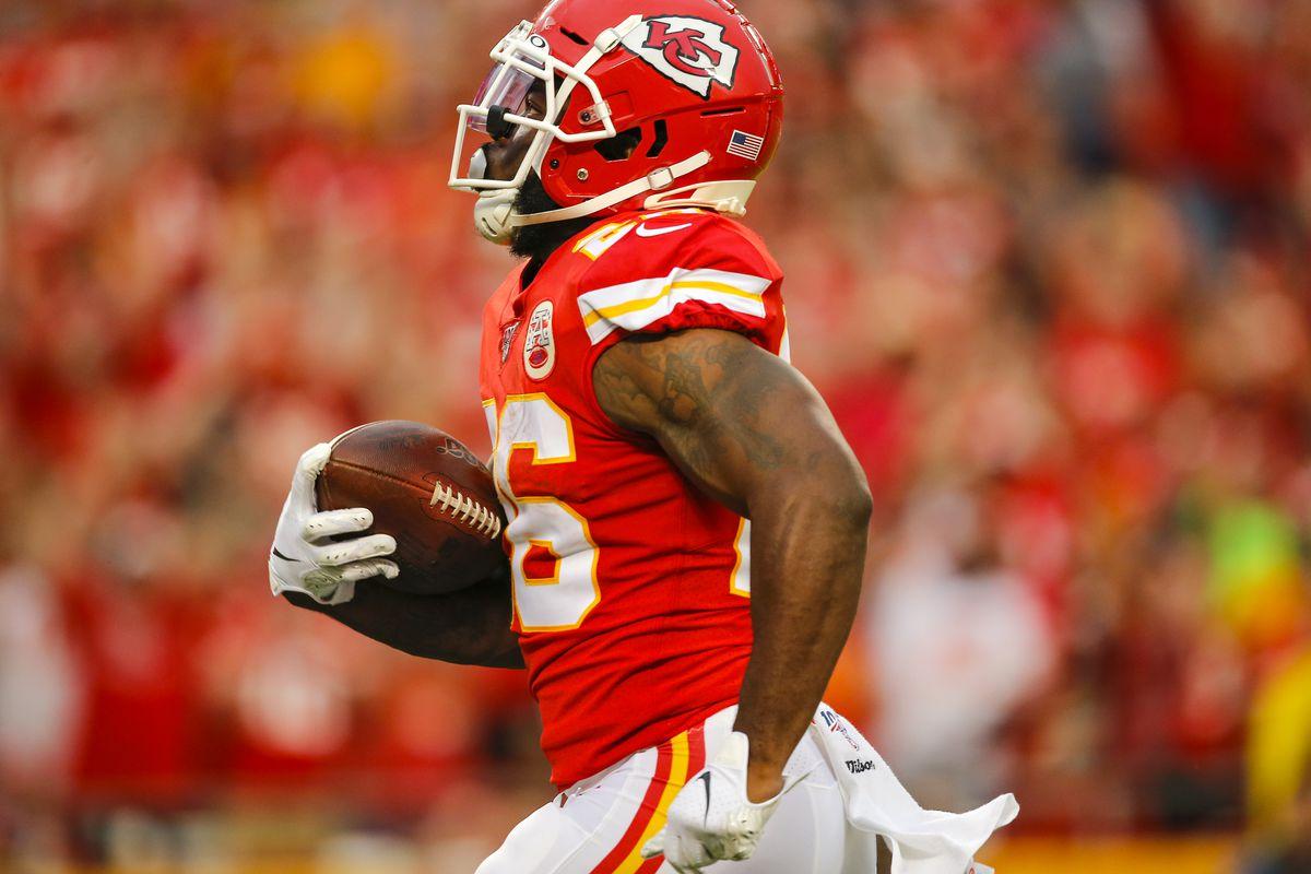 Damien Williams of the Kansas City Chiefs runs for a 62-yard touchdown in preseason action against the San Francisco 49ers at Arrowhead Stadium on August 24, 2019 in Kansas City, Missouri.