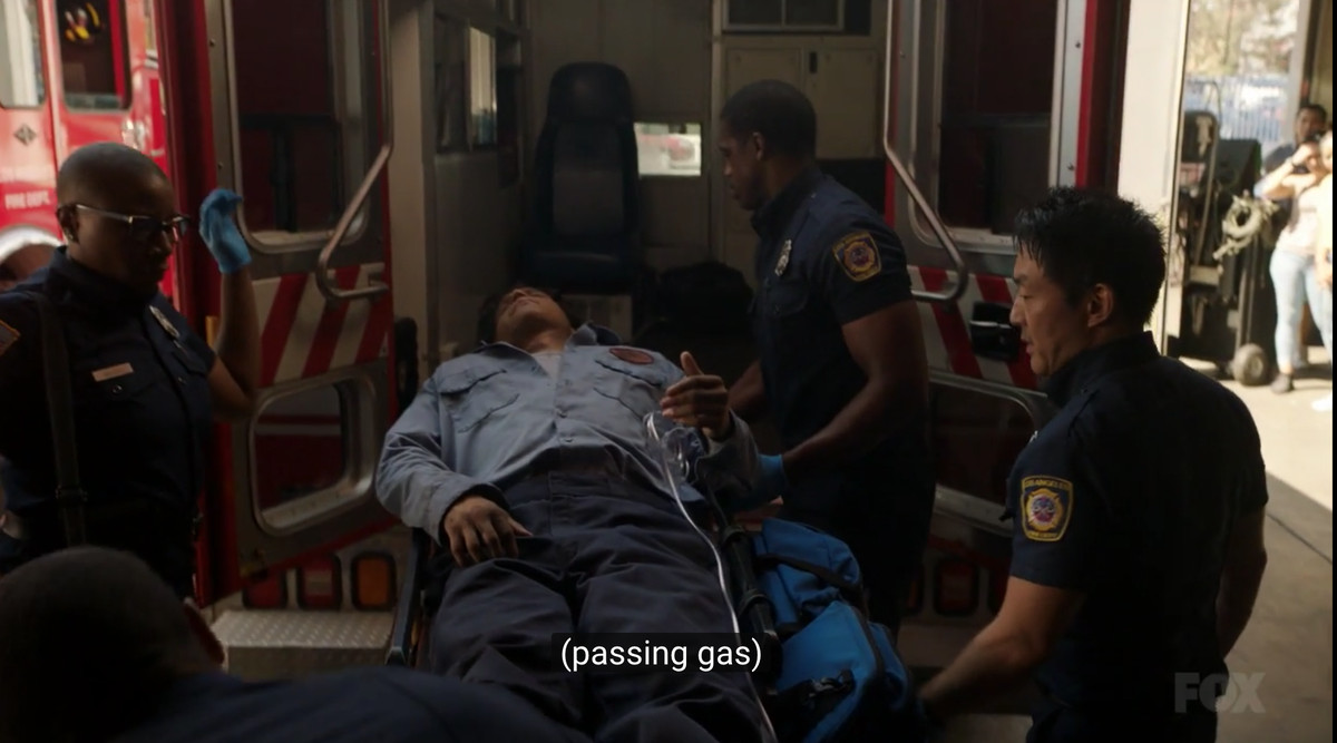 """Emergency responders surrounding the mechanic with the caption """"(passing gas)"""""""