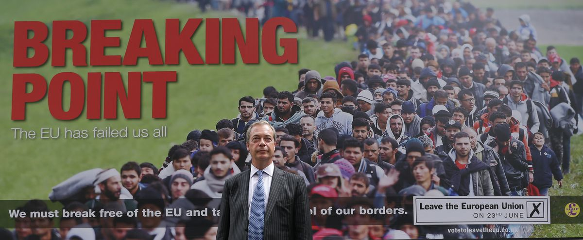 """A pro-Brexit billboard depicting a stream of refugees """"overrunning"""" Britain."""