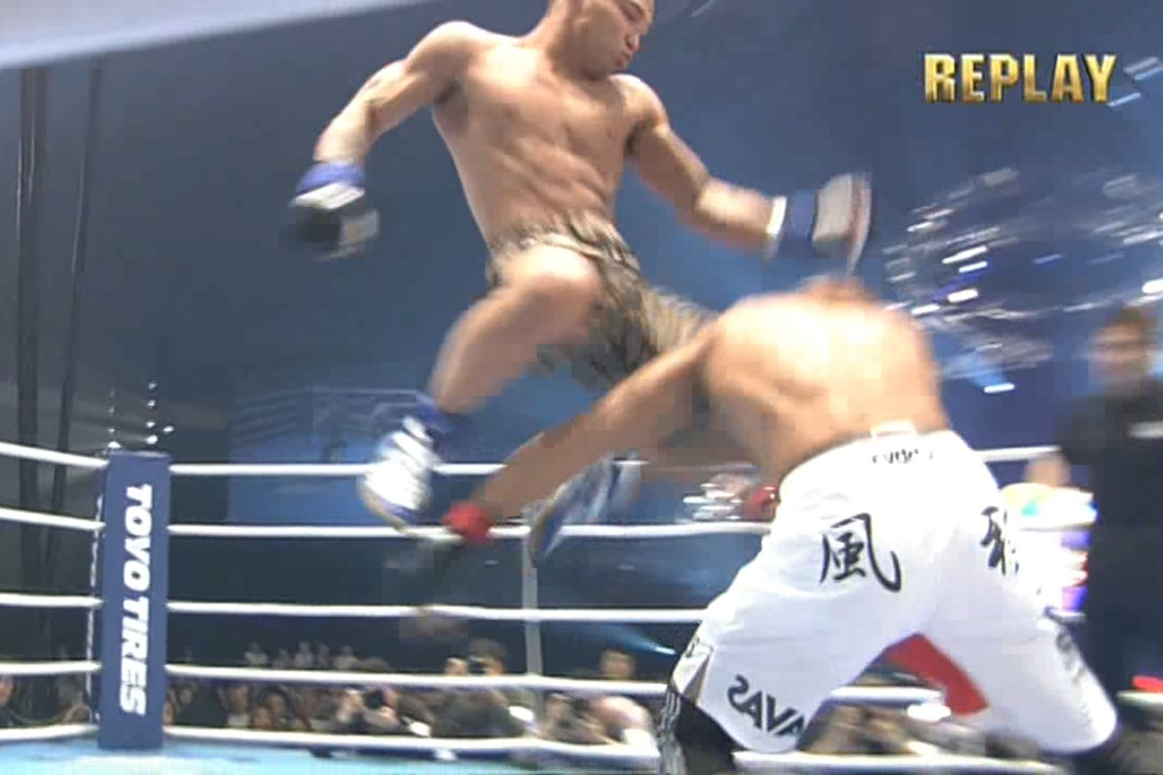 "Norifumi ""Kid"" Yamamoto scoring a 4-second KO at a Hero's show on May 3, 2006"
