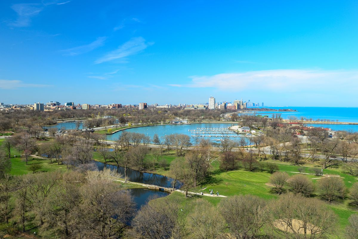 Aerial view of Jackson Park on a sunny day in Chicago.