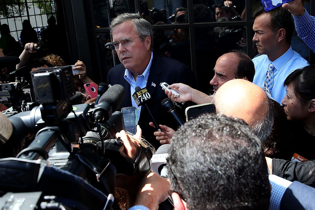 Republican presidential candidate and former Florida Gov. Jeb Bush speaks to reporters after visiting Thumbtack on July 16, 2015, in San Francisco, California.