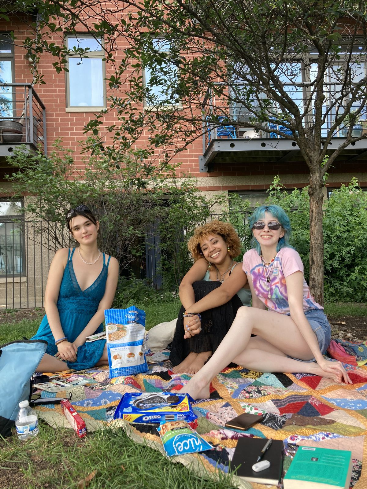 Three girls sit on a picnic blanket at Churchill Field Park in Wicker Park.